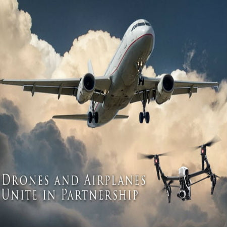 Drone Partnership Along Airplanes