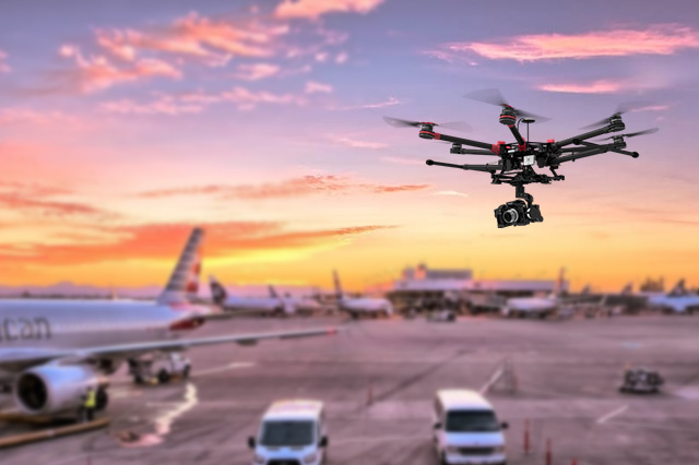 Illigal Drone Flying above Airport