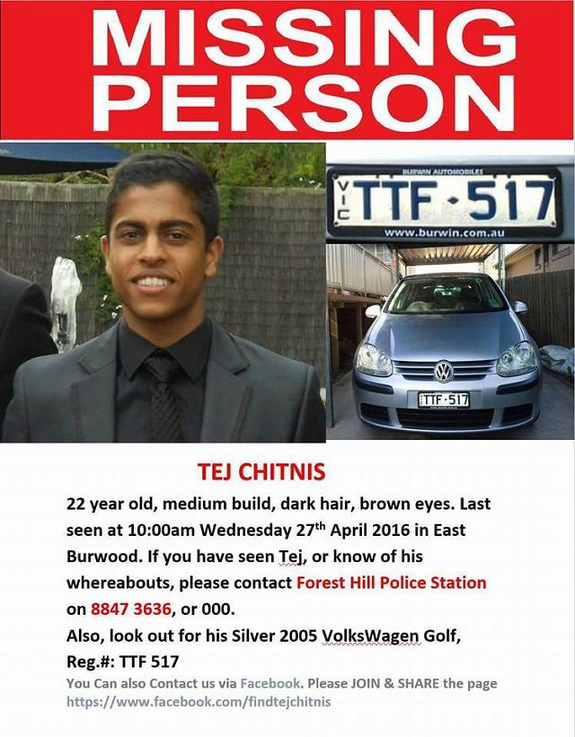 Missing Tej Chitnis