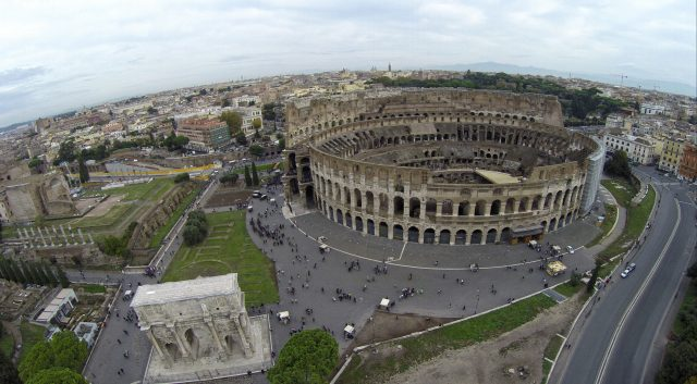 Flying Drone Over Rome's Colosseum