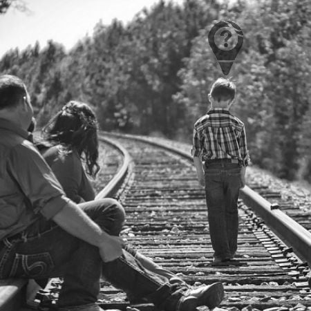 Parents with Their Child On Train Tracks