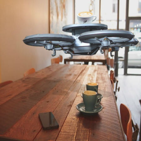 Drones as Waiters in Cafe