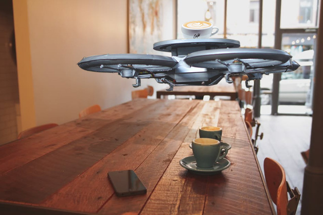 Drone Waiters in a Cafe