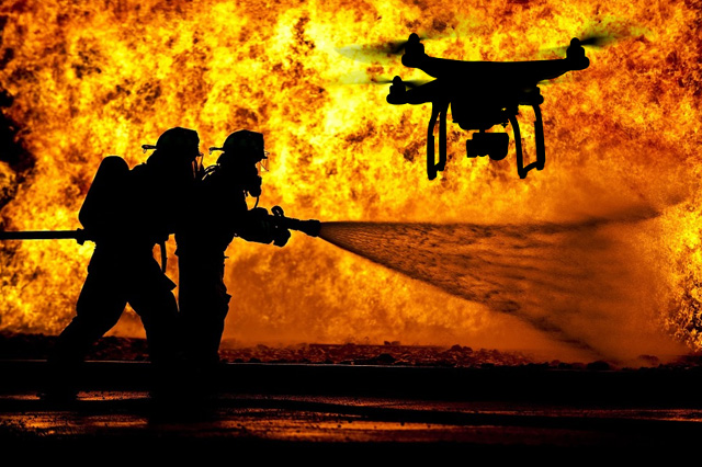 Drones Distracting Firefighters